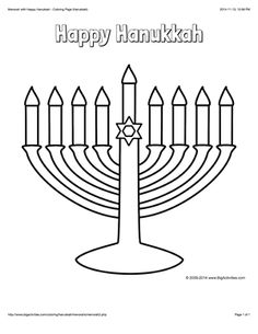 hanukkah coloring page with a menorah and the words happy hanukkah