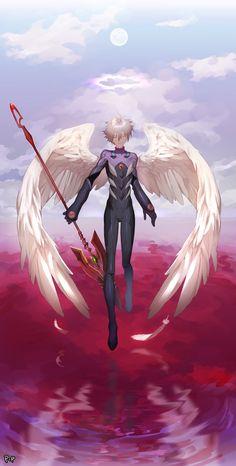 Anime Guys Kaworu - Tabris art,so cool. Neon Genesis Evangelion, Manga Art, Manga Anime, Anime Art, Evangelion Kaworu, Anime Fairy Tail, Ange Demon, Angels And Demons, Anime Angel