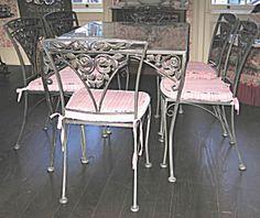 Woodard Wrought Iron Dining Set, Rose Pattern / Joan Bogart