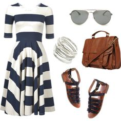 Navy Blue and White Dress Set, created by torievans13 on Polyvore