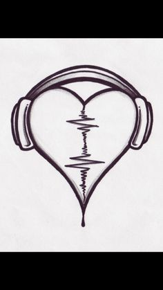 Audio Heart Tattoo Design By Pointofyou Designs Home.Use the Audio of a loved one for the wave form! Simple Audio Heart Design (Louis' tattoo before he had it covered) Music Heart Tattoo In the past 12 monthss, tattoos were regarded as a type of riot. Music Drawings, Pencil Art Drawings, Drawing Sketches, Tattoo Drawings, Cool Heart Drawings, Tumblr Drawings Easy, Broken Heart Drawings, Sketching, Drawing Poses