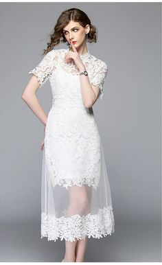 a9df51902f51c US $22.99 25% OFF|Aliexpress.com : Buy Summer Mesh Patchwork White Lace  Dress Women Floral Crochet Lace Runway Dress Elegant Mid Calf Party Dress  Vintage ...