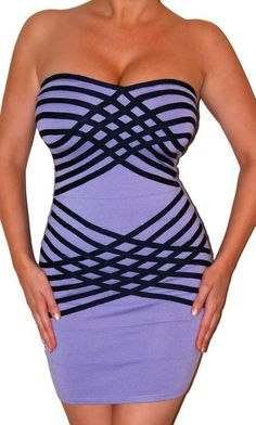 SEXY MOD CLOTH PURPLE STRIPED STRETCHY FITTED 90'S CLUB BANDAGE MINI DRESS NEW #MODCLOTH #StretchBodycon #Cocktail
