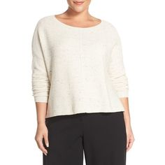 Plus Size Women's Eileen Fisher Bateau Neck Boxy Sweater ($166) ❤ liked on Polyvore featuring plus size women's fashion, plus size clothing, plus size tops, plus size sweaters, ecru, plus size, white pullover, boat neck sweater, plus size pullover sweaters and white sweater