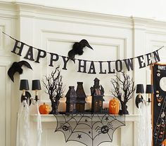 pottery barn kids glitter happy halloween garland shopstyle home - Pottery Barn Halloween Decorations