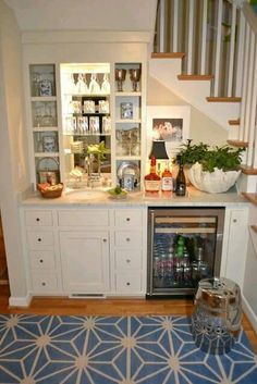 stair design with mini bar and drink cooler : Under Stair Design With Mini Bar. bar under stairs ideas,built bar under stairs,house stairs design,mini bar under stair,stair design ideas Under Basement Stairs, Bar Under Stairs, Stairs In Kitchen, Basement Kitchen, Basement Storage, Stair Storage, Basement Flooring, Basement Bathroom, Flooring Ideas