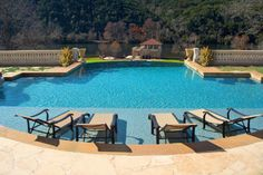 Vanishing Edge, Freeform and Geometric Swimming Pool Designs by Cody Pools, a pool builder in Austin, Dallas/Ft. Backyard Pool Designs, Small Backyard Design, Swimming Pool Designs, Pool Landscaping, Pool Backyard, Patio Design, Garden Design, Luxury Swimming Pools, Luxury Pools