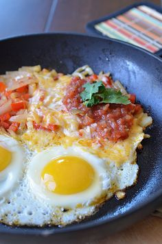 Mexican egg skillet...go find a mini cast iron fry pan at the thrift store....just like the restaurants!!