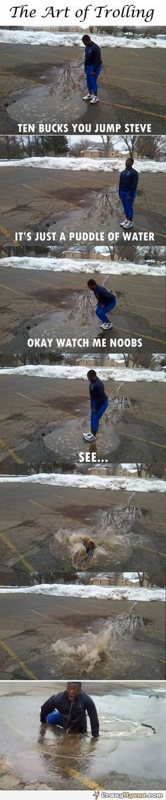 Guy jumped into the puddle of water. | Funny Pictures, Quotes, Photos, Pics, Images. Free Humorous Videos and Facebook Covers