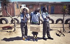 Namibians wearing Vellies (Shoes)