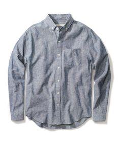 Shop the Organic Chambray Essential Shirt Denim Button Up, Button Up Shirts, Men's Fashion Brands, Mens Fashion, Fashion Outfits, Chambray, Organic Cotton, Long Sleeve Shirts, Menswear