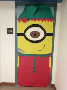 Minion elf classroom door I made this year! Minion elf classroom door I made this year! Minion Door Decorations, Holiday Door Decorations, Daycare Decorations, Christmas Classroom Door, Minion Christmas, Christmas Ideas, Christmas Writing, Xmas, Christmas Activities