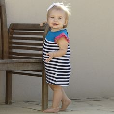 Baby Girls Navy Stripe Hot Pink Dress with Bloomers – Lolly Wolly Doodle