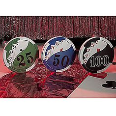 The set of 3 Night in Vegas Poker Chips are must have party decorations for any Casino Party.