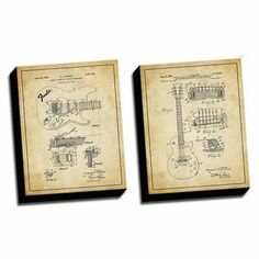 Picture it on Canvas 'Guitar Vintage Patent Drawings' 2 Piece Graphic Art on Canvas Set