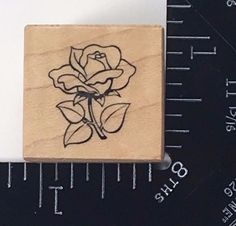 PETITE SINGLE ROSE PSX A-249 Rubber Stamp Flowers Botanical Petals Blossom #363