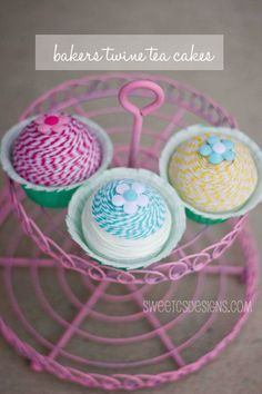 baker's twine tea cakes with Mod Podge