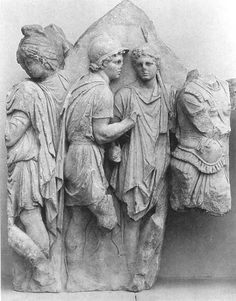 Telephos is greeted by Teuthras, panel from the Telephos frieze showing Telephos, Odysseus and Achilles (with spear), from inside the Great Altar of Pergamon, marble, c. 5.2' h, c. 180 B.C. (Pergamum Museum, Berlin):