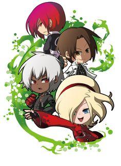KOF main characters, Kyo, Iori, K' and Ash.