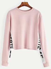 Pink Contrast Letter Print Sweatshirt