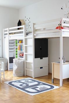 Raised bed for kids room to take the most out of small rooms. Shared Bedrooms, Awesome Bedrooms, Double Loft Beds, Ideas Habitaciones, Ikea Kids, Kids Room Design, Kid Spaces, Small Spaces, Kid Beds