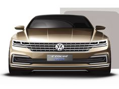 Volkswagen C Coupe GTE Concept Design Sketch Render - Car Body Design