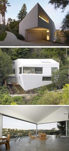 The Hill House is designed by Johnston Marklee & ASSOCIATES under conditions generated by modern problems of building on the hillside. The site, an irregular shaped lot situated on an uneven downhill slope, offers panoramic views of Santa Monica Canyon