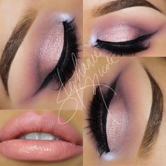pink rosey makeup winged cat eye nude pink lips