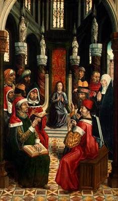 """MASTER of the Catholic Kings (active 1485-1500 in Castilia)  Click! Christ among the Doctors  1495-97 Oil on panel, 136 x 93 cm National Gallery of Art, Washington  Ferdinand and Isabel became known as the """"Catholic Kings"""" because of their religious zeal, offering the Jews and Moors the choice of converting to Catholicism or being expelled from Spain. This paintings along with seven others formed parts of an altarpiece probably painted for a church or convent in Valladolid in north central…"""