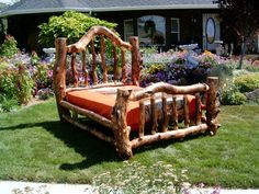 Someday I'll have a log bed.  Not perfect and straight like the ones in some stores, but wild and rustic and unique like this one.