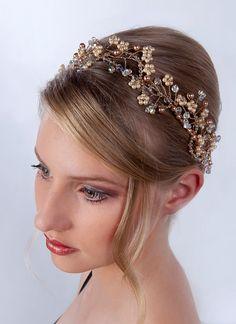 rose gold floral spray headband