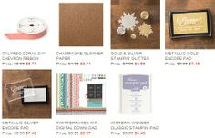 It's a glittery week for the weekly deals! Stock up on shinny stuff and save. www.robynsroost.stampinup.net