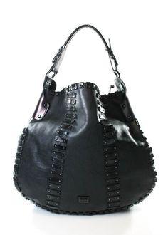 BURBERRY Black Leather Grommet Hobo Handbag EVHB #Burberry #Hobo