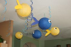 Fish we made using hanging paper lanterns :)