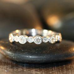 Diamond Wedding Ring 14k White Gold Half Eternity Band Women Diamond Anniversary Ring Bezel Diamond Ring (Custom Made Ring ok)