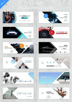 12 Facebook Covers  by UNIK Agency on @creativemarket Facebook Cover Design, Facebook Cover Template, Covers Facebook, Banner Design Inspiration, Web Banner Design, Social Media Banner, Social Media Design, Youtube Banner, Design Plano