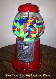 My new eraser dispenser. Inspired by several pinterest ideas. Keeps erasers organized and all in one place. Goes well with a carnival or food themed classroom. In my classroom, students pay tickets that they are rewarded throughout the day to buy the erasers. Works well for a classroom store too.