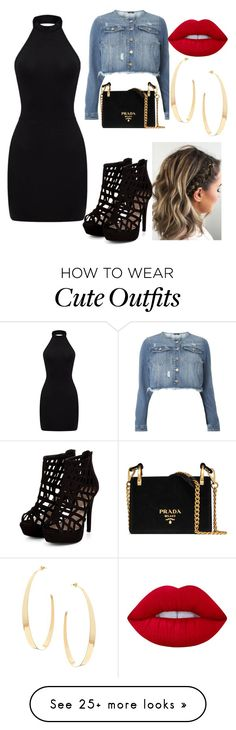 """My First Polyvore Outfit"" by bombonica123 on Polyvore featuring Evans, Prada, Lime Crime and Lana"