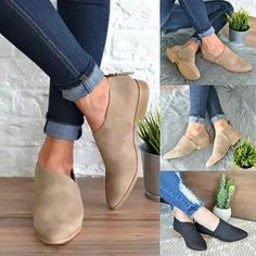 afe38acbb8f9 Women Simple Comfort Classic Slip On Boot Low Heel Ankle Boots