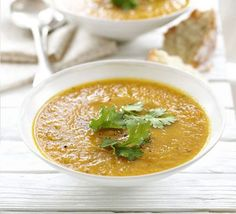 Carrot and Coriander Soup. Everyone loves this super healthy soup, perfect for an easy supper Carrot And Corriander Soup, Coriander Soup, Carrot And Coriander, Carrot Soup, Ground Coriander, Bbc Good Food Recipes, Soup Recipes, Vegetarian Recipes, Cooking Recipes