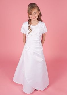 Linzi Jay First Holy Communion Dress - Crystal Age 7, 8, 10, 11, 12 Years - A-Line Full Length White Satin First Communion Dress With Bolero Jacket
