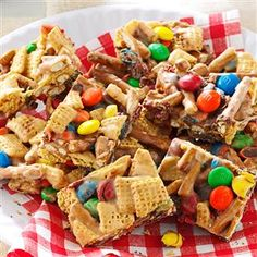 Snack Mix Squares Recipe -A fun snack mix pressed into chewy bars, this treat is popular with kids of all ages. Someone is always asking me for this quick and easy recipe. —Lisa Byler, Millersburg, Indiana