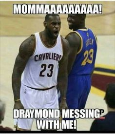 LeBron James complained to the refs after game 4 of the 2016 Finals about Draymond Green hating his feelings, so Draymond got suspended from game 5 (Basketball Memes) Funny Nba Memes, Funny Basketball Memes, Funny Sports Quotes, Funny Sports Pictures, Football Memes, Nba Quotes, Soccer Humor, Basketball Finals, Sport Quotes