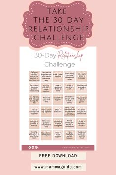 Take the 30 Day Relationship Challenge to get out of the rut your relationship has fallen into. Set aside intentional time to spend with each other every day. Relationship Challenge, Postpartum Care, First Time Moms, 30 Day Challenge, Breastfeeding Tips, Pregnancy Tips, Challenges, Parenting, How To Get