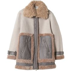 Shearling Mix Coat Rebecca Taylor (€1.130) ❤ liked on Polyvore featuring outerwear, coats, jackets, coats & jackets, tops, shearling coats, colorblock coat, sheep fur coat, rebecca taylor coat and texture coat