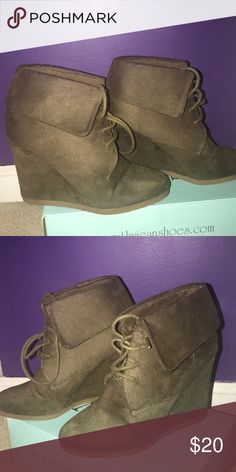 Women's Olive Green Booties Women's Olive Green Wedge Booties Shoes Wedges