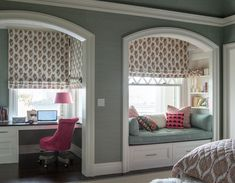 Tulu Textiles Traditional Kids Also Arched Elliptical Openings Built in Bench Built in Bookcase Built in Desk Double Hung Window Grass Cloth Wallpaper Green and Pink Kids Bedroom Reading Nook White Trim