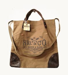 RRL, Canvas Leather Tote Bag