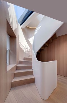 FORMstudio designed an acrylic balustrade that winds up the home's five levels. The flooring throughout is white oak. Amazing Five-Story Staircase Twists Through a Narrow London Home by Allie Weiss. Browse inspirational photos of modern homes. House Staircase, Spiral Staircase, Staircase Design, White Staircase, Wooden Staircases, Stairways, Interior Architecture, Interior Design, London Architecture