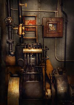 Steampunk - Back In The Engine Room Canvas Print / Canvas Art By Mike Savad Steampunk Kunst, Steampunk House, Steampunk Bar, Steampunk Interior, Steampunk Design, Steampunk Bedroom, Steampunk Home Decor, Steampunk Crafts, Jules Verne